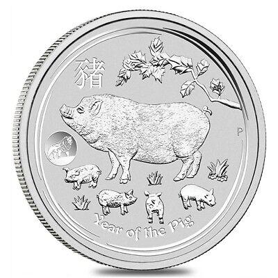2019 1 oz Silver Lunar Year of The Pig Lion Privy BU Australian Perth Mint In