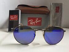New RAY BAN Sunglasses  ROUND METAL Bronze Frame  RB 3447 167/68  Blue Lenses