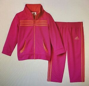 ADIDAS NWT 2PC Girls Pink Jacket Hot Zip Top NWT Pants Traje de pista Hot Pink Warm 4bda1dc - rspr.host