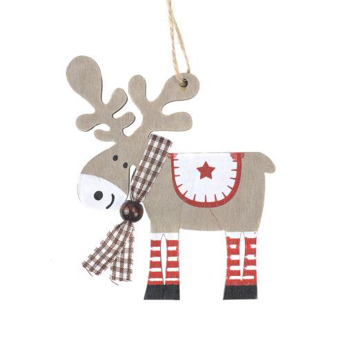 DIY Wood Christmas Elk Deer Ornaments Xmas Tree Hanging Table Decoration Gift