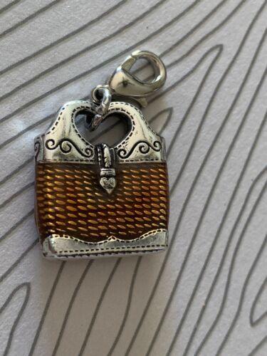Brighton PURSE Tan Brown Basket Weave Heart Handle ABC Custom Charm Silver
