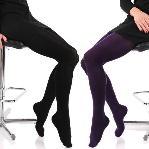 Uni Strick Strumpfhose Baumwolle mit Komfortzwickel /& Blickdicht extra dehnfähig