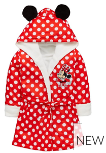 DRESSING GOWN WITH 3D EARS,2//3,3//4,4//5,5//6,7//8YR NWT DISNEY MINNIE MOUSE