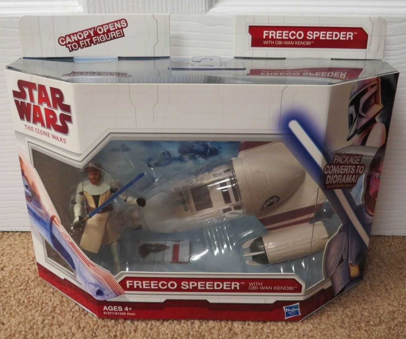 STAR WARS THE CLONE WARS - FREECO SPEEDER WITH OBI WAN KENOBI - SEALED