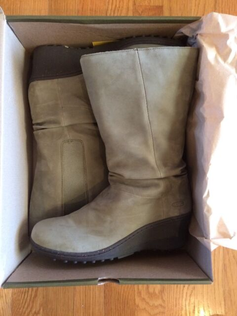 KEEN Womens Akita Mid Calf Sage Green Leather Slouch Wedge Heel BOOTS Size  11 083ff222878