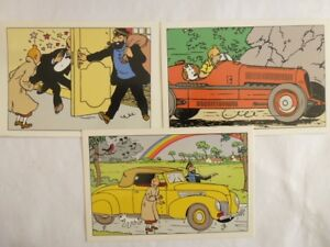3 Cartes Postales - Herge Tintin - Amilcar , Lincoln , Haddock Et Nestor