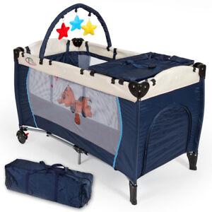 Cuna de Viaje Portátil Plegable con Acolchado Ajustable para Bebé Azul Nuevo