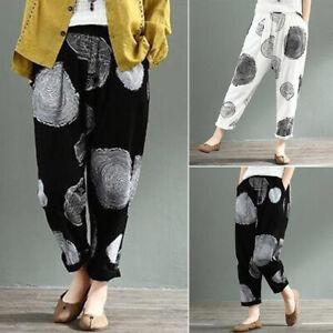 ZANZEA-8-24-Women-Elastic-High-Waist-Pull-On-Pants-Printed-Polka-Dot-Trousers