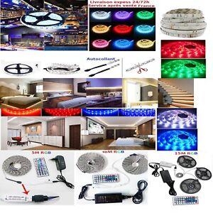 Kit-1-5-10-15m-Bande-Ruban-LED-Strip-Flexible-RGB-5050-SMD-livraison-express