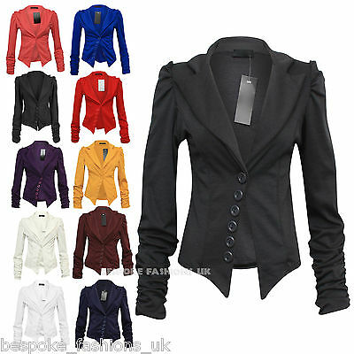 LADIES WOMENS RUCHED SLEEVE 6 BUTTON DETAIL BLAZER / OFFICE JACKET  8-14