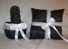 BLACK SATIN / WHITE LACE TRIM FLOWER GIRL BASKET & RING BEARER PILLOW #4