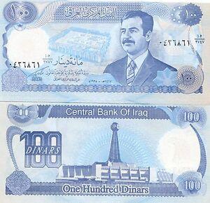 Saddam Hussein Iraqi 100 Dinar Unc Iraq