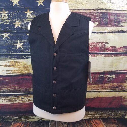 XLT XL MT LT Wyoming Traders Mens Black Bronco Canvas Vest Large