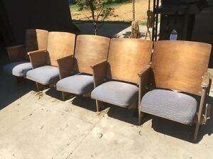 Vintage Theater Seats Five Chairs Bench Row w/ Wear & Stains