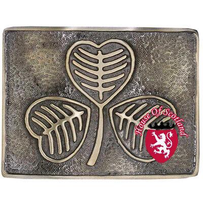 Brillante Hs Uomo Fibbia Cintura Kilt Scozzese Grande Trifoglio Irlandese Antico Highland Originale Al 100%