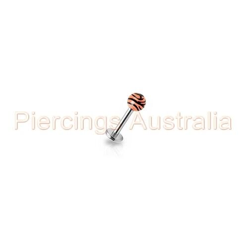 16G Tiger Stripe Ball Labret Lip Bar Ring Body Piercing Jewellery CHOOSE LENGTH