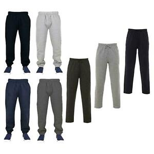 Dobladillo-Abierto-Pantalones-Deportivos-Chandal-Polar-Pantalones-para-hombre-Negro-Gris-Carbon