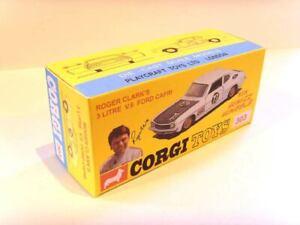 CORGI TOYS Nº 303-Ford Capri V8. superba riproduzione/personalizzata finestra di visualizzazione.