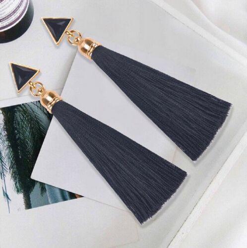 Trendy Boho Long Tassel Triangle Dangle Earrings in 4 colours for Women Jewel UK