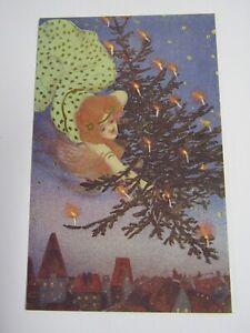 New Reproduction 1903 Raphael Kirchner Angel And Tree Christmas Postcard