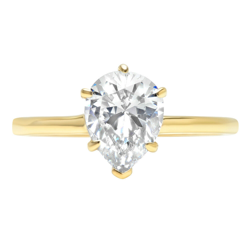1.25 ct Pear Cut Classic Solitaire Engagement Promise Ring Solid 14k Yellow gold