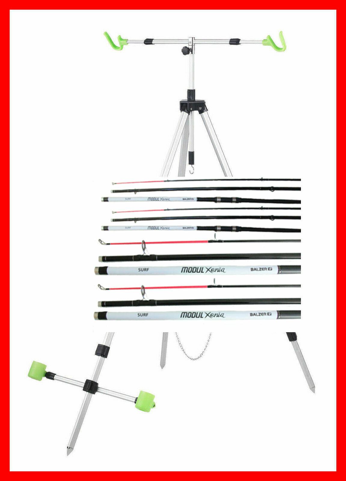 2 Balzer Brandungs Set`s  XENIA 2 Ruten 2 Rollen mit 0 35 mm und Alu Dreibein