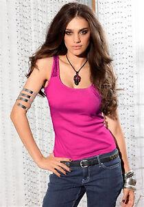 Damen Trägertop Spitze Ziersteine Rundhals pink Gr 36/38 Figurbetont *016*