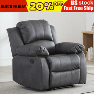 Leather-Recliner-Chair-Overstuffed-Armchair-Sofa-Chaise-Lounge-Seat-Living-Room
