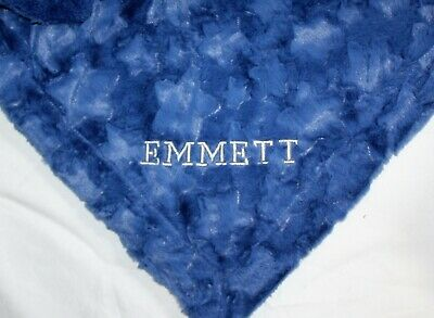 Luxurious Birth Details  Baby Blanket Embossed Rosebud Blue Boy Newborn Gift