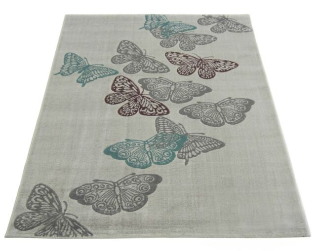 Atlantis Modern Butterfly Rugs In Natual, Teal & Purple - 120x170cm - 17103-458