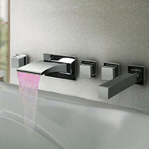 Led Waterfall Bathroom Tub Faucet Wall Mount Mixer Taphand Shower