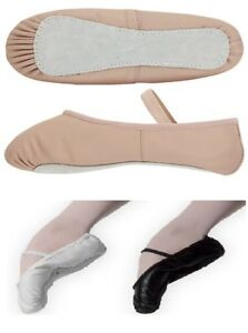 Ballet Shoes Leather Pink Black White Full Sole