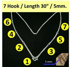 Necklace Stainless Gold Plated Solid for thai amulet 26 inches 4 mm 3 hooks.S5