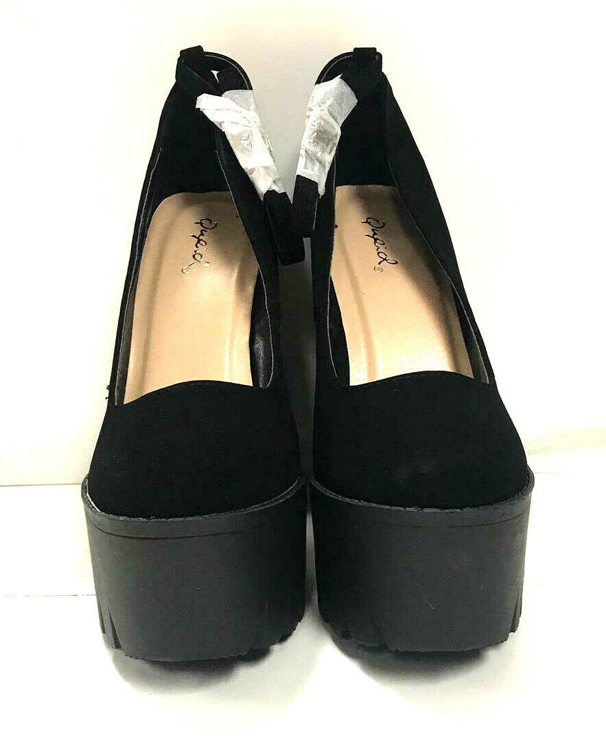 Qupid Women's Closed Toe Heels Iggy 14, Black Nubuck PU Leather, US 8.5