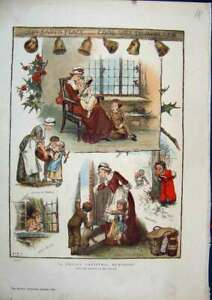Original-Old-Antique-Print-1883-Colour-Christmas-Scenes-Reading-Story-Snow-19th