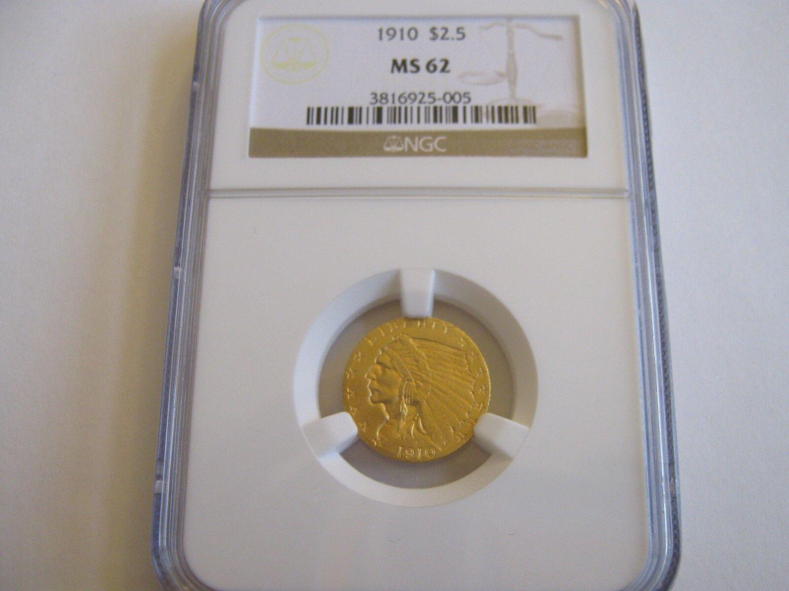 1910 , Indian Head , $2.50 , Quarter Eagle , NGC , MS 6