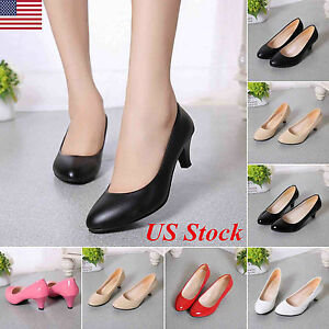 Womens-Ladies-Low-Mid-Kitten-Heels-Bridal-Office-Work-Stiletto-Pumps-Court-Shoes