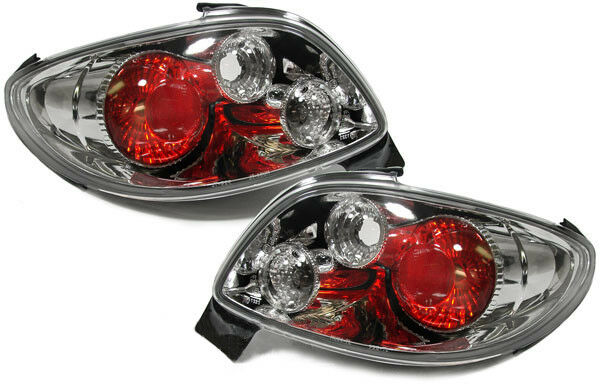 Clear Glass Back Rear Tail Lights Chrome New for Peugeot 206