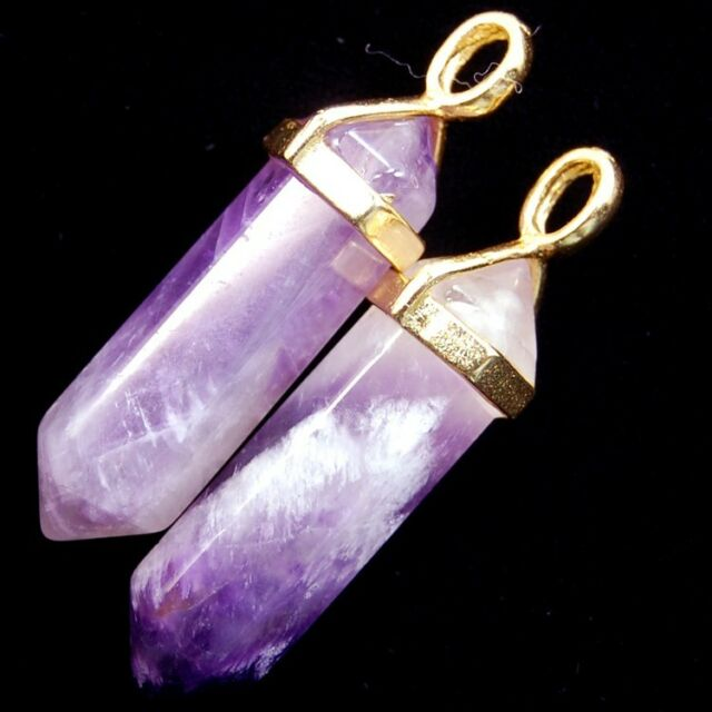 Wholesale Natural Gemstones Gold Cap Healing Pointed Reiki Chakra Pendant Beads