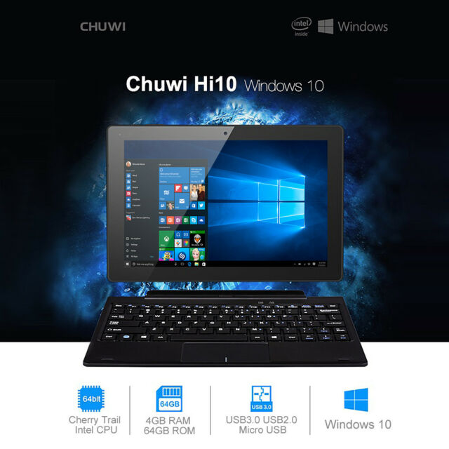 "CHUWI Hi10 Tablet PC 10.1"" Windows10/Android 5.1 4GB/64GB Intel Z8300 Ultrabook"