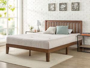 Solid Wood Platform Bed Frame Headboard Rustic Full Size ...