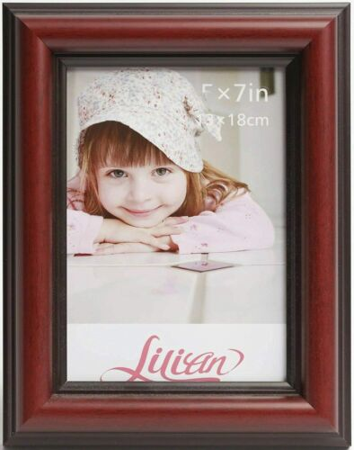 Photo Frame Photo Holder Various Size Brown Lilian Wood-Like Dark Red
