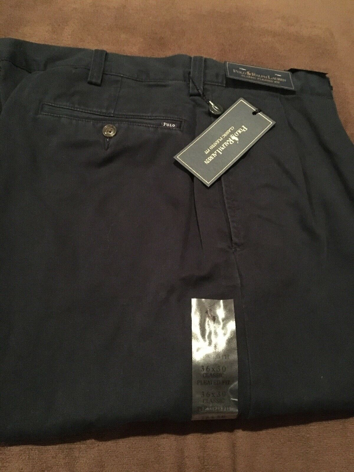 POLO RALPH LAUREN Premium Classic Pleated Navy Khaki Pants NWT 36x30 Brand New