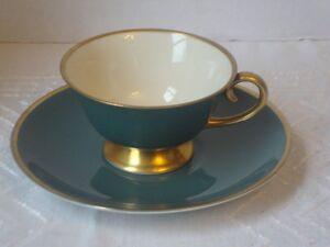 Flintridge California Teal Green Cup & Saucer Set (s) Gold Trim