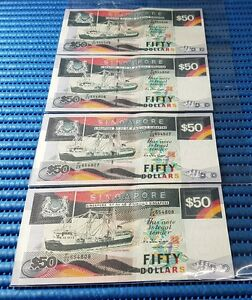 4X-Singapore-Ship-Series-50-Note-E-25-654805-654808-Run-Dollar-Note-Currency