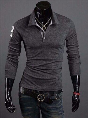 NEW Men Stylish Slim Fit Casual Fashion T-shirts Polo Shirt Long Sleeve Tops