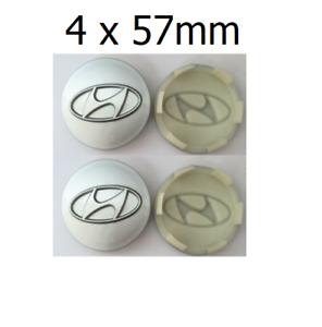 4x-57-mm-Hyundai-Nabendeckel-Felgendeckel-Nabenkappe-Silber-Sonata-Santa-Tucson