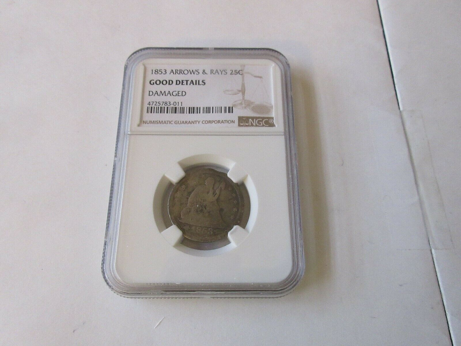 1853 Seated Liberty 25C Arrows & Rays Good Details Dama