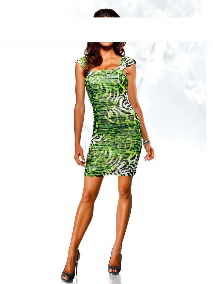 Heine Kleid 38 40 42 grün grün grün schwarz Abendkleid im Animal-Look NEU 4a277c