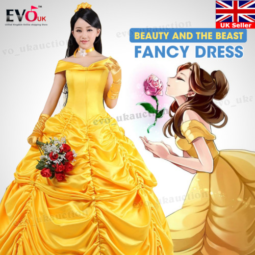 Adult Beauty and The Beast Princess Belle Cosplay Costume Fancy Ball Gown  Dress 56f82fc1ccfb